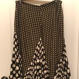 WDNY Chocolate polka dot silk skirt